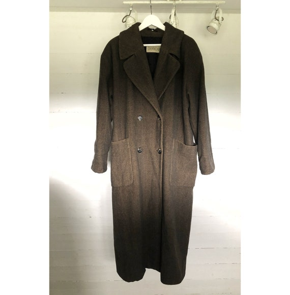Vintage oversized long brown pocketed wool trench