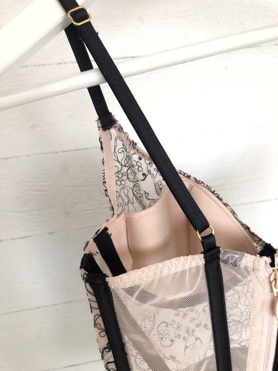 Vintage corset for women beige black lace top bus… - image 7