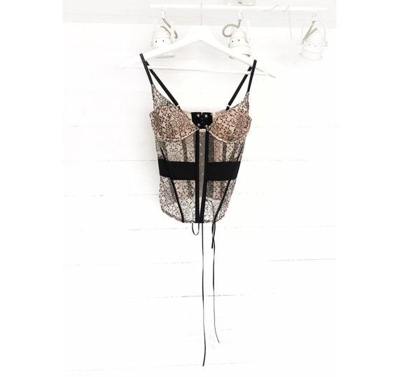 Vintage corset for women beige black lace top bus… - image 1