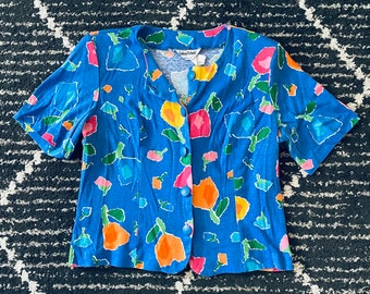 Watercolour Floral Abstract  Wild Multicolour Print summer 90s Button Down Collared Blouse