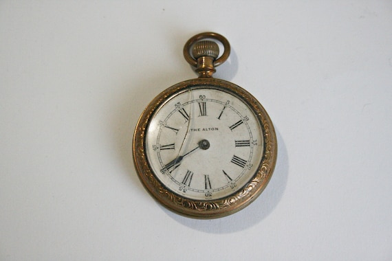 Antique The Alton Brass Pocket Watch - As Found -