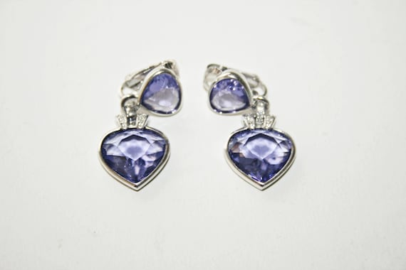 Vintage Purple Swarovski Crystal Signed Clip-On Ea