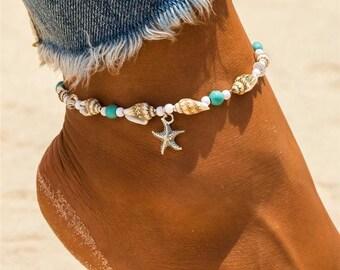 Black Leather Starfish Anklet,patina brass starfish anklet,black leather anklet,ladies black leather ankle bracelets,nautical anklets,anklet