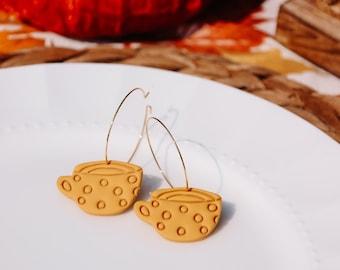 Fall Teacup Gold Hoop Earrings
