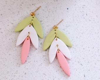 Three-tiered Leaf Dangle Earrings