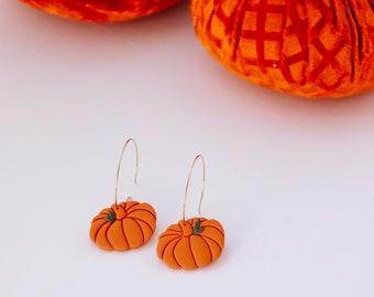 Fall Pumpkin Gold Hoop Earrings