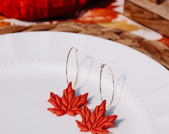 Fall Maple Leaf Gold Hoop Earrings