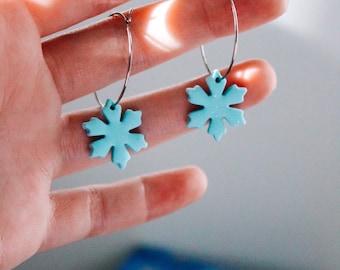 Blue Sparkly Snowflake Silver Hoop Earrings