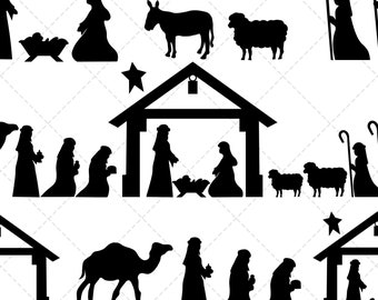 Nativity Silhouette Etsy Christmas christian nativity scene with baby jesus in the manger in silhouette, and star of bethlehem vector eps 10. nativity silhouette etsy