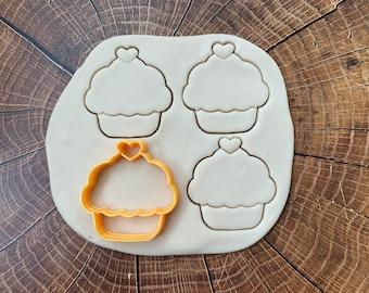 3D Printed Kawaii Heart Cupcake cookie cutter, Fondant, Clay Cutter