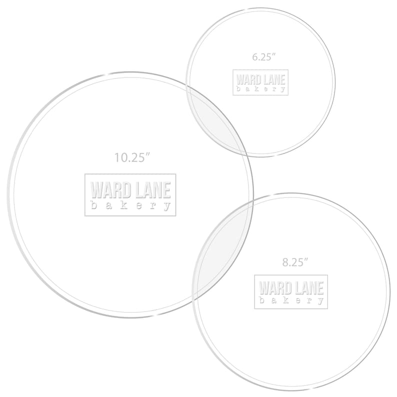 Acrylic cake discs for  6\u201d 8\u201d and 10\u201d cakes. Set of 3, re-usable
