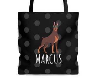 When Filled Dog Tote Bag - Canvas Bag with Brown Straps and Stripes Doberman Cropped Black /& Tan Tote Size is 20 x 15 x 7