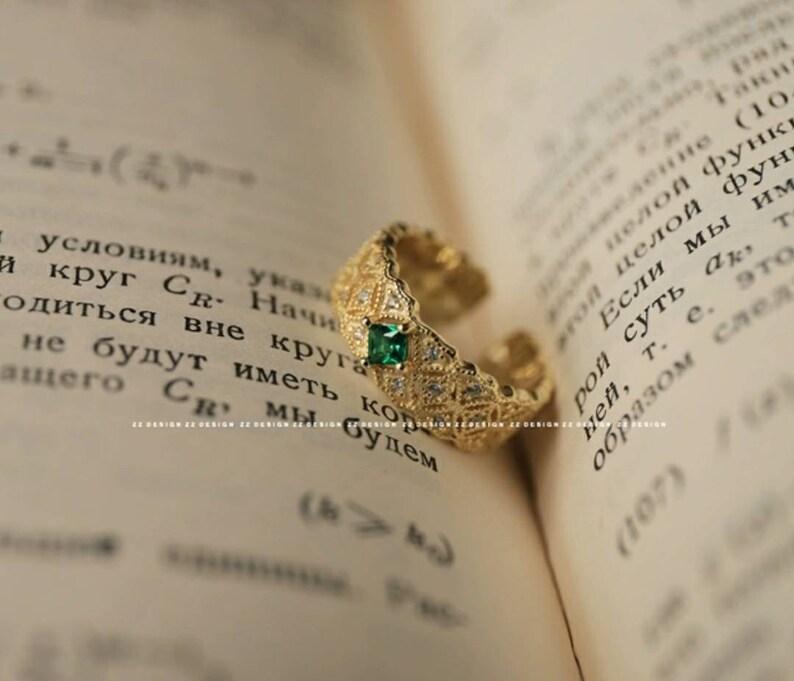 vintage style tr\u00e8s \u00e9l\u00e9gante Bague en argent avec zircon vert