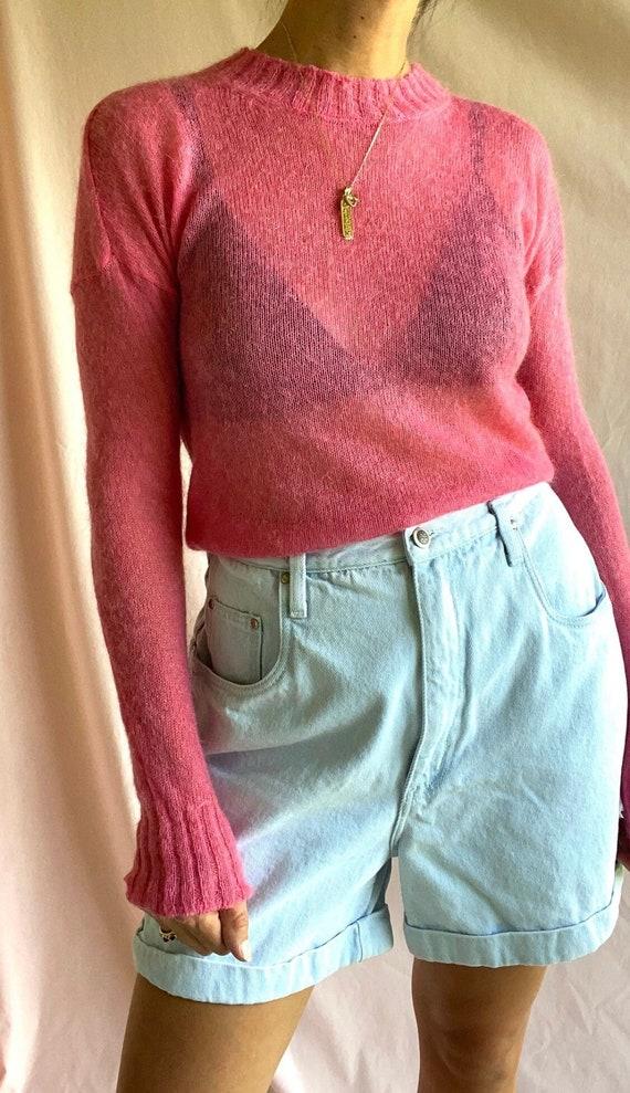 Hot Pink Knit Sweater - image 1
