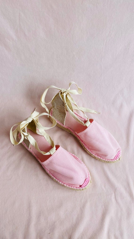 Baby Pink Lace Up Espadrilles