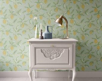 Dollhouse Wallpaper, Lemon William Morris, Kitchen Blue Green, Miniature 1:12