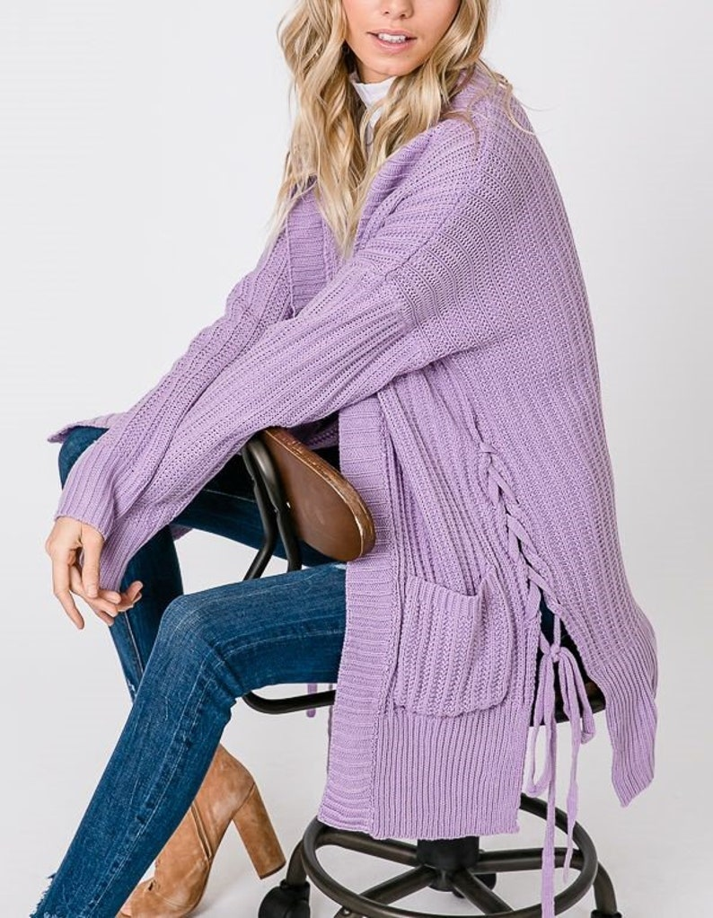 Lace-up Detailed Cozy Knit Cardigan