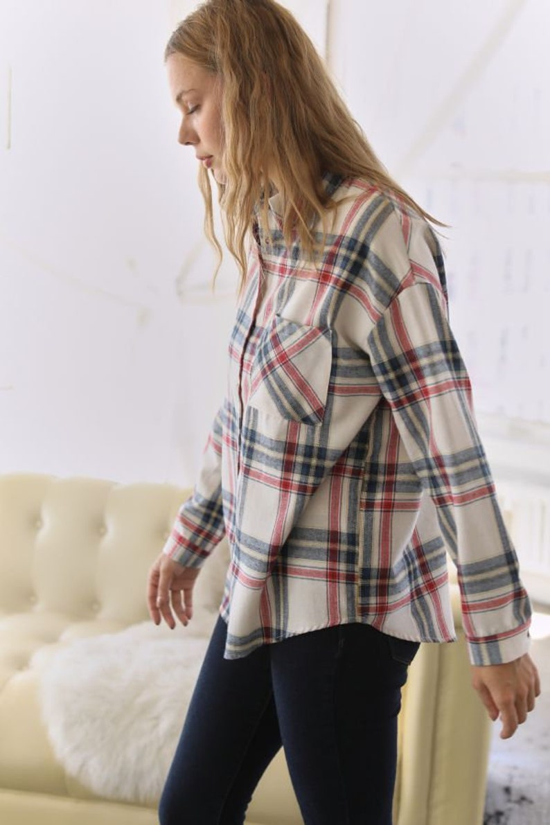 Plaid Print Button Down Collared with Pocket Shirt Top for Women