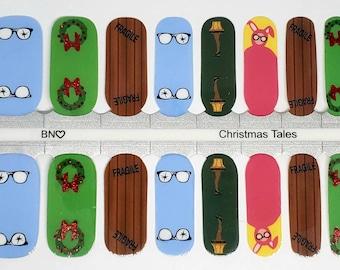 Nail wraps, christmas nail Polish strips, nail Stickers, Christmas nails Christmas story nailsNail Mail