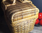 Large Vintage Wicker Double Handled, Travel Basket, Sewing Basket, Willow, Bamboo Woven