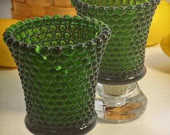 Green Hobnail Glass, Peg Votive Candle Holders, Vintage Green