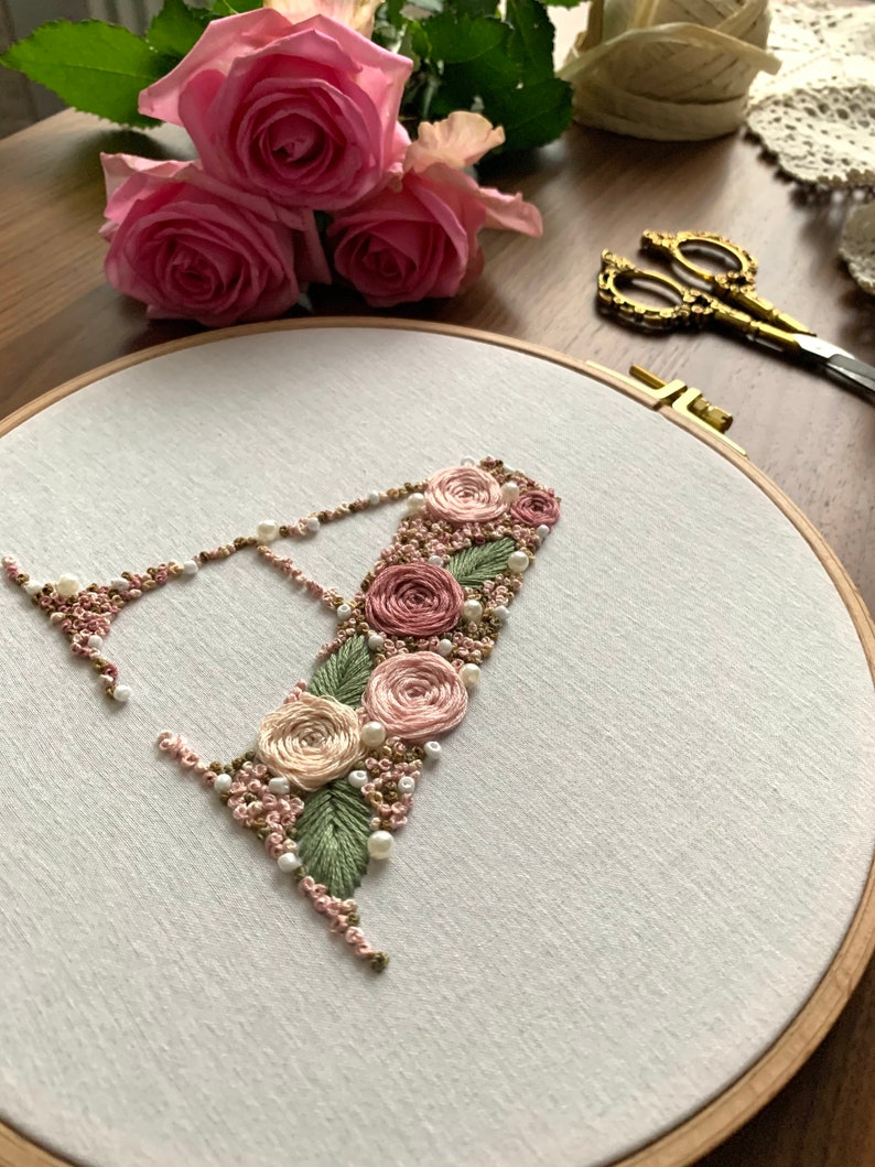 personalized gift handmade monogram Letter embroidery picture with beads birth kids wedding ring pillow embroidery frame
