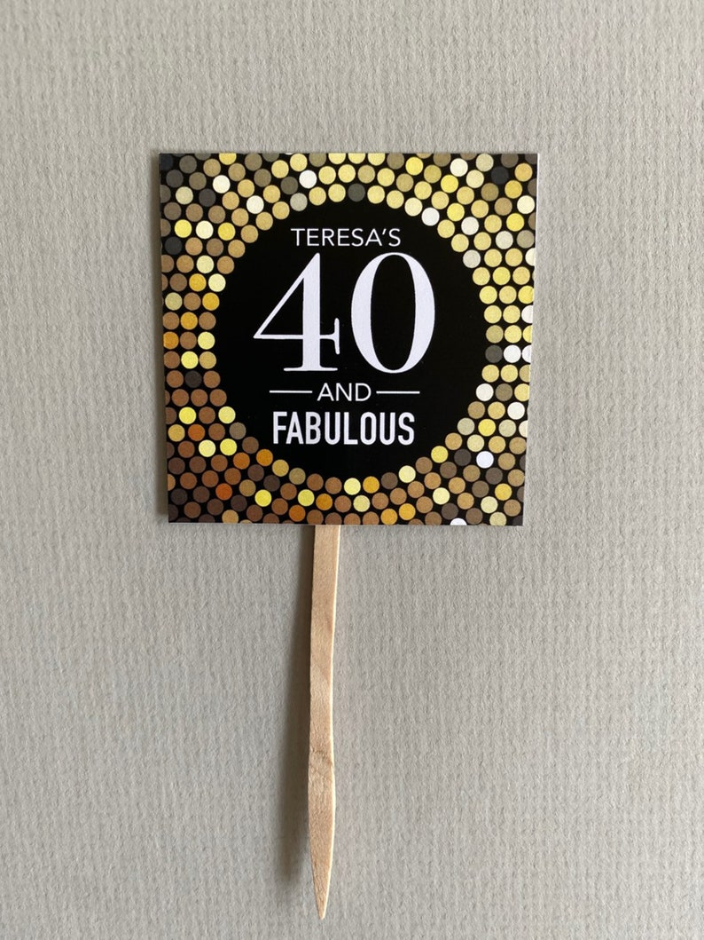 Forty 40 and Fabulous Sparkle Glitzy Birthday Cupcake Toppers Set of 12