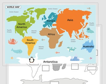 World Map Placemat, Practice Continents and Oceans, World Map Poster, Practice World, World Map Print, World Map Mat, 8.5x11, 11x17, 20x30