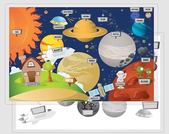 """Solar System Placemat, Space Practice Mat, Learn Planets Placemat, Planets Placemat, Solar System  Dry Erase, Learn Planets, 11x17"""""""