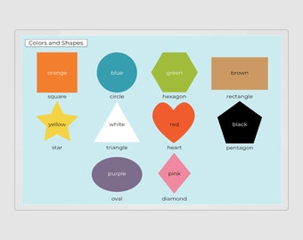 Shape Color Placemat, Learn Shapes and Color, Shape Color Poster, Color Shape Letters, Shape Color Print, Shape Mat, 8.5x11, 11x17, 20x30