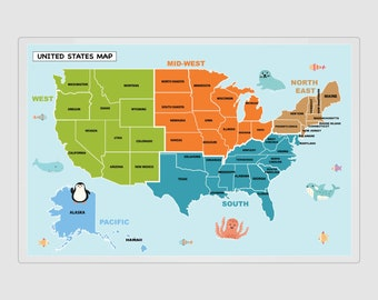 United States Map Placemat, Practice States and Regions, US Map Poster, Practice States, Learn States Map, USA Map, 8.5x11, 11x17, 20x30