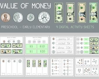 Money Worksheets  | Value Of Money | Learn to Add Money | Homeschool Math Mat | Printable Math Mat | Number Dry Erase | 11x8.5 | Montessori
