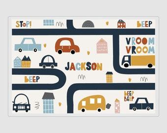 "Car Placemat, Personalized Car Mat, Laminated Car, Car Placemat, Car Placemat, Car Mat, Car Dry Erase, 11x17"""