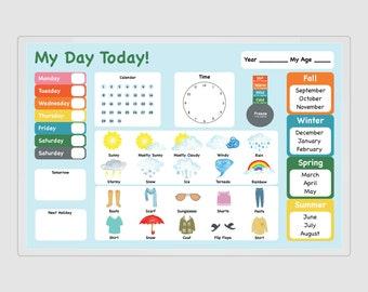 Calendar Morning Board, Calendar With Date, Time, and Weather, Kid Calendar Poster, Kids Calendar, Calendar Print, 8.5x11, 11x17, 20x30