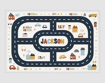 """RaceTrack Placemat, Personalized RaceTrack Mat, Laminated RaceTrack, RaceTrack Placemat, Car Placemat, Car Mat, Car Dry Erase, 11x17"""""""