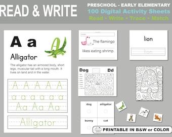 Alphabet Worksheets, Alphabet Sheets, Homeschool Sheets, Reading Worksheets, Writing Worksheets, Toddler Busy Book, 100 sheets, 8.5x11