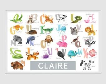 Alphabet Placemat with Animal Names, Alphabet Poster, Alphabet Letters, Alphabet Print, Alphabet Mat, Learn Alphabet, 8.5x11, 11x17, 20x30