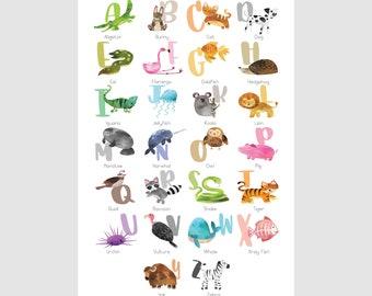 Alphabet Poster, Animal Names, Alphabet Print, Alphabet Mat, ABC Poster, Playroom Wall Art, Classroom Poster, Poster 8.5x11, 11x17, 20x30