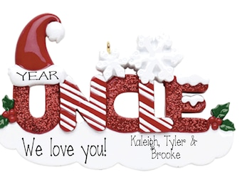 Personalized Red Glitter UNCLE~Christmas Ornaments~Keepsake~Hand Personalized Ornament~Family Ornament~Ornament~Personalized Gifts