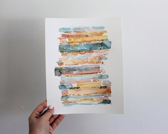 Original Watercolor Painting Colorful painting Orange blue yellow Abstract art 8x10 Simple decor Wall decor Modern decor Wall art