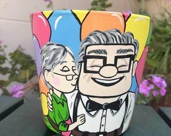 UP Inspired Flower Pot, Pixar Planted Pot, Disney Flower Pot, Disney Flower Planter, Hand Painted Pot, Terra Cotta Pot, Succulent Pot