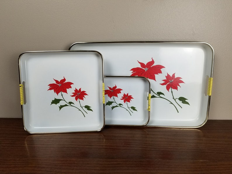 Holiday Party - Winter Christmas Vintage Himark Japan Three Piece Lacquerware Poinsettia Tray Set with Plastic Wrapped Handles