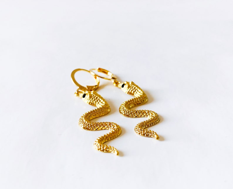 Statement Earrings Gold Snake Dangly Earrings Dangle Earrings Birthday Occasion Party Evening Earrings Animal Insect