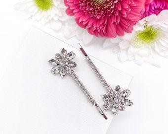 Bridal Hair Clip, Wedding Hair Accessories Comb Pin Clip, Crystal Silver Hair Pin, Bride Flowergirl Bridesmaid