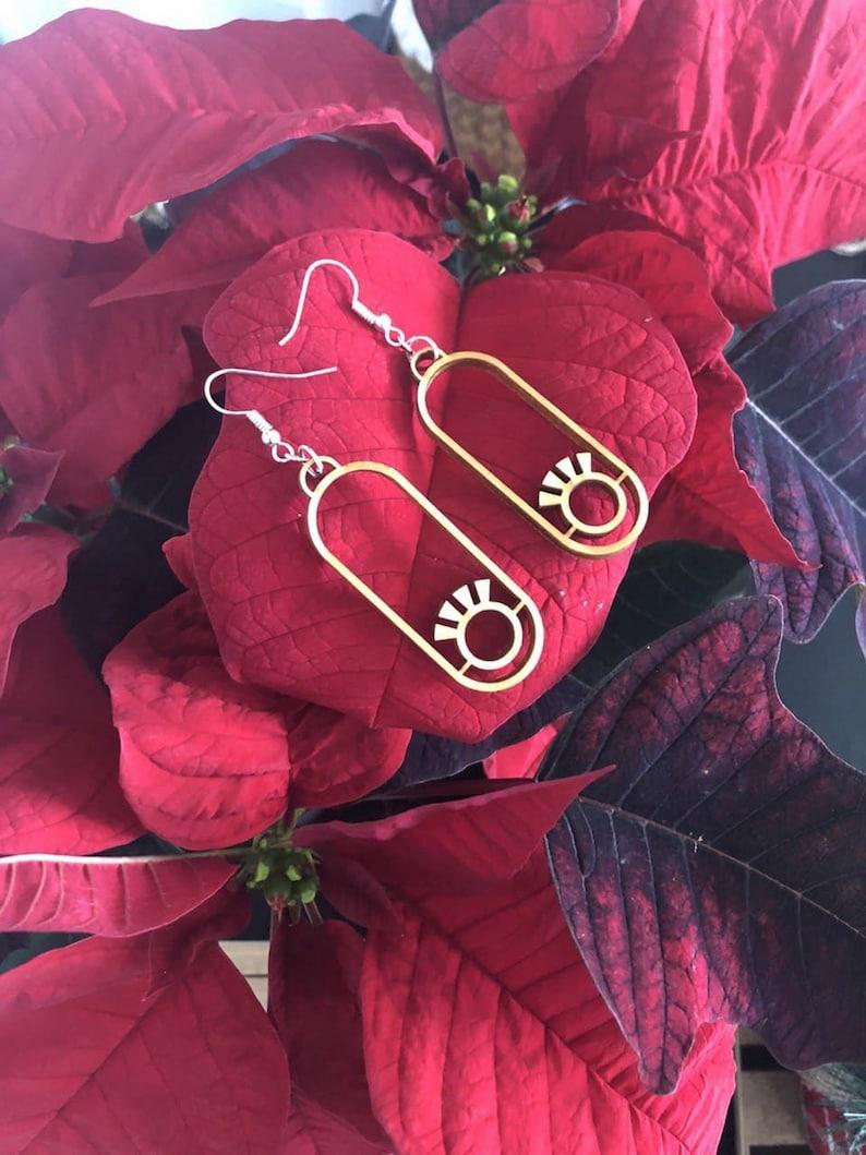 wooden eye earrings with sterling silver hooks geometric earrings Christmas gift for her drop and dangle earrings earrings hooks