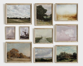 Vintage Landscape Print SET | French Country Gallery Wall Set of 10 | Antique Decor Wall Prints PRINTABLE Digital #S05