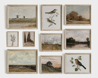 Vintage Autumn Gallery Wall Print Set | Neutral French Country Decor Paintings | PRINTABLE S21
