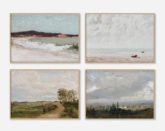 Vintage Landscape Art Print SET | Coastal Beach Decor | Digital PRINTABLE Oil Painting Moody Gallery Wall #112