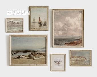 Vintage Coastal Gallery SET | Vintage Nautical Paintings Decor PRINTABLE #S6-1