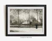Winter Landscape Oil Painting Vintage Print Muted Countryside PRINTABLE 244